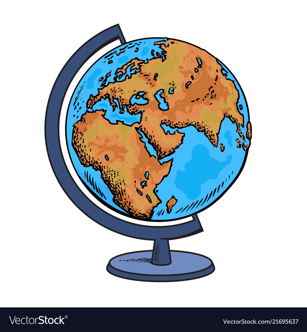 School globe model of earth geography icon