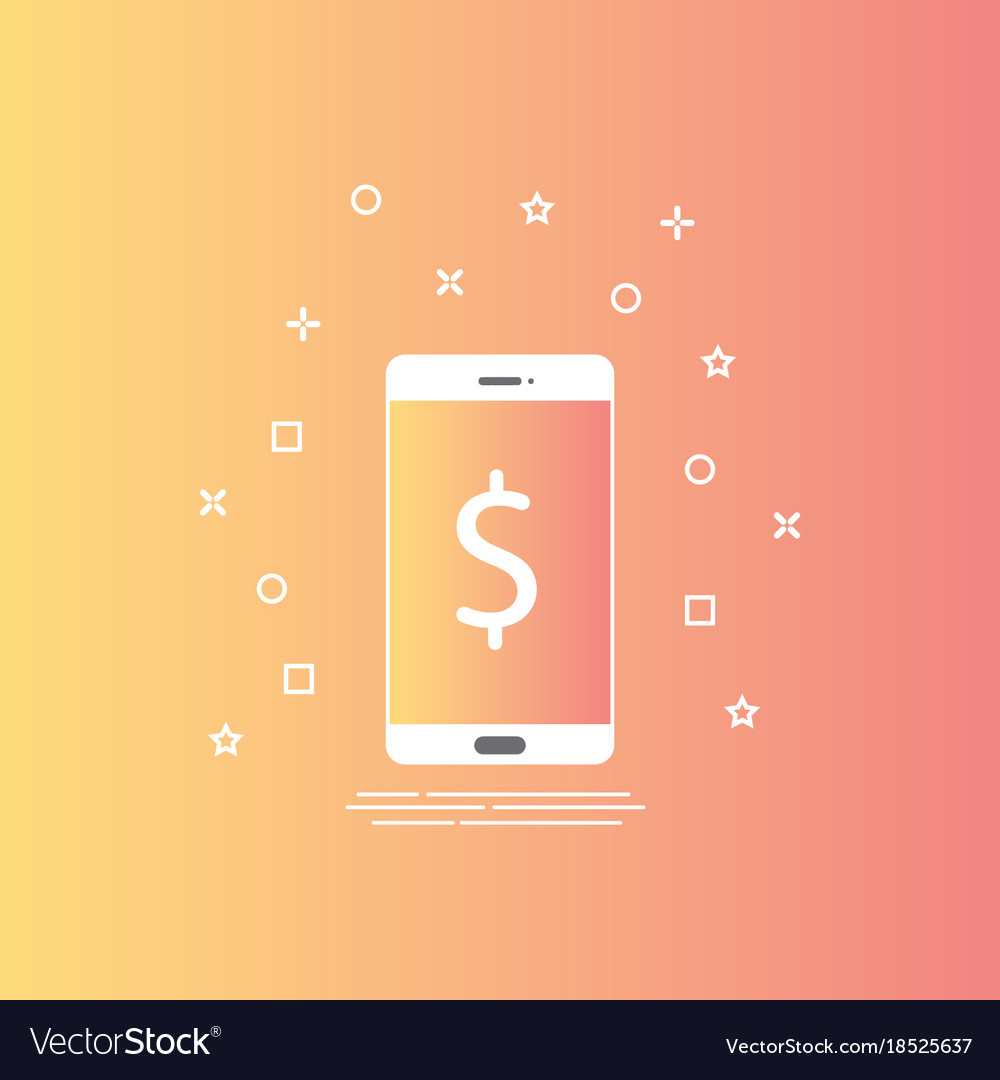 Smartphone icon in line style with mobile payment