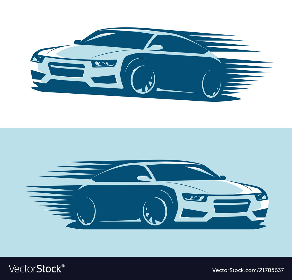 Sports car in motion logo abstract art