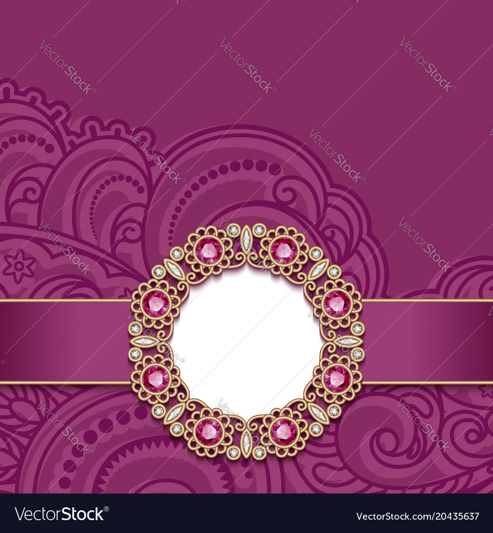 Wedding Card With Gold Jewelry Decoration