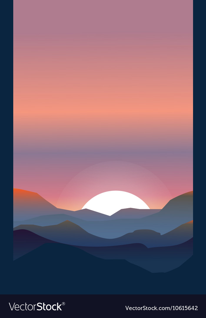 Abstract landscape of a sunset vector image