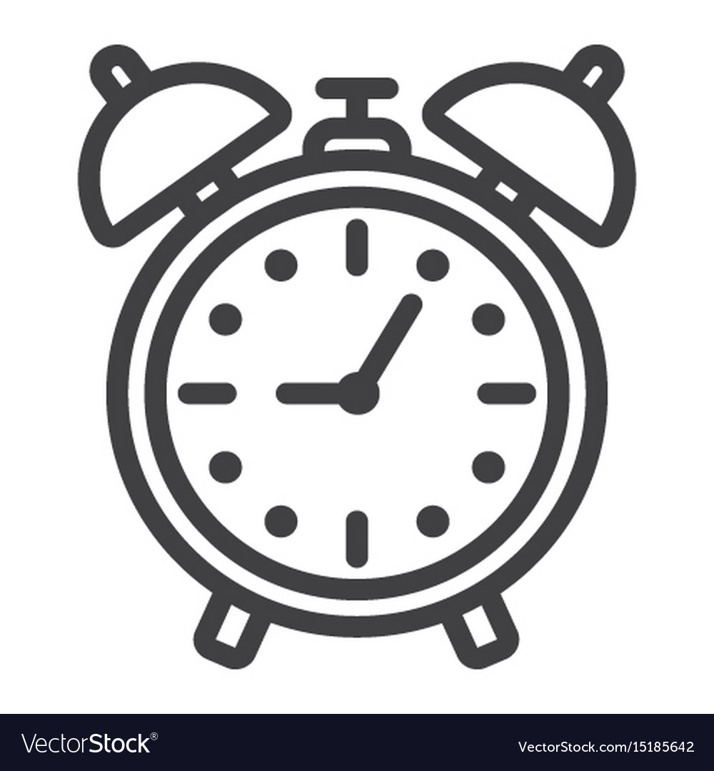 Alarm clock line icon time and deadline