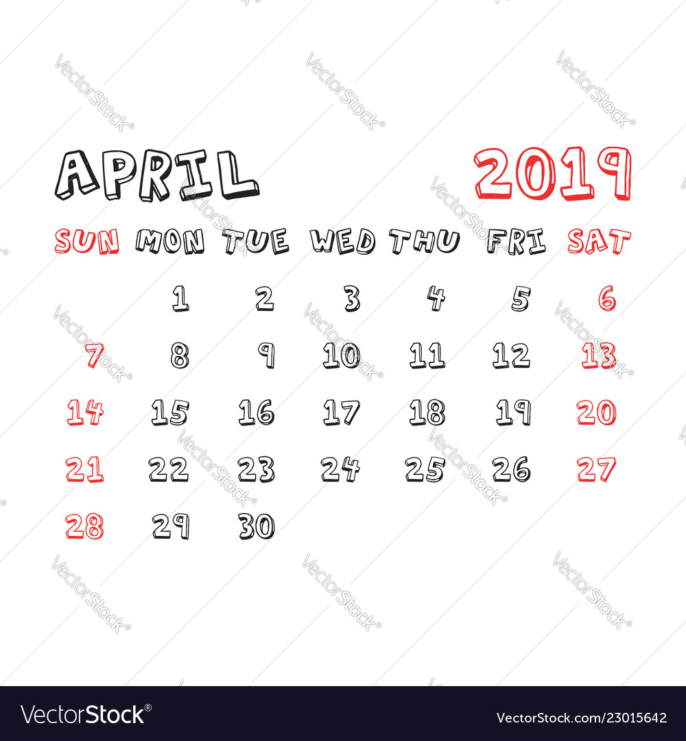 Calendar april 2019 year in cartoon child style