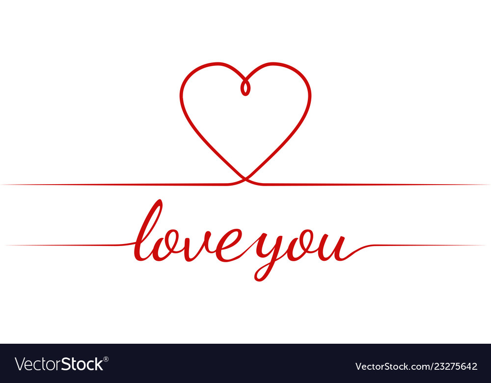 Calligraphy text i love you heart graceful