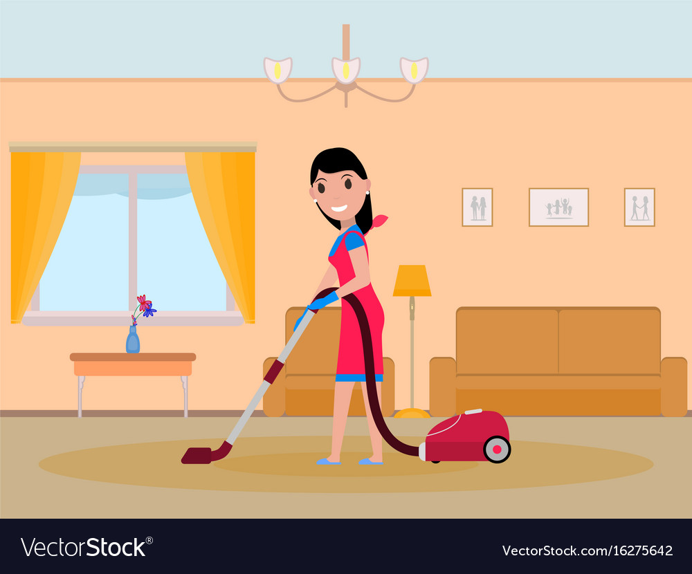 Cartoon girl maid cleaning apartment vector image