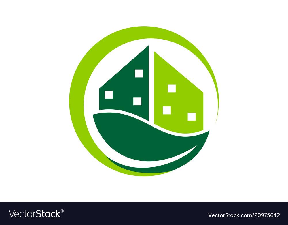 Eco building logo design template