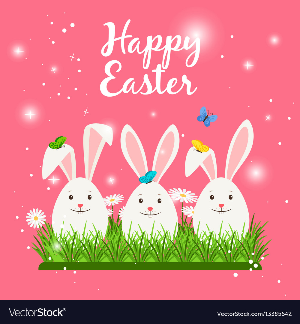 Happy easter card with white rabbits