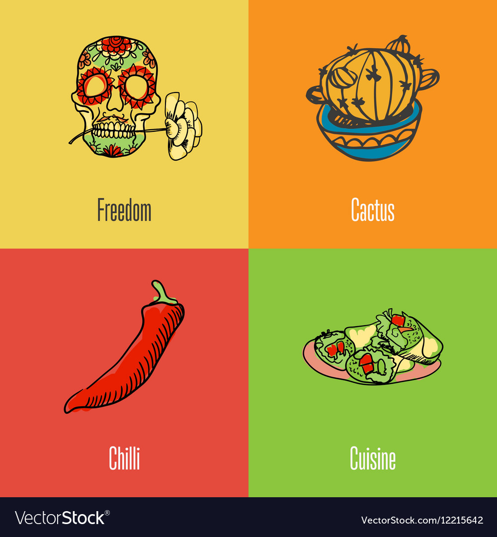 Mexican National Symbols Icons Set