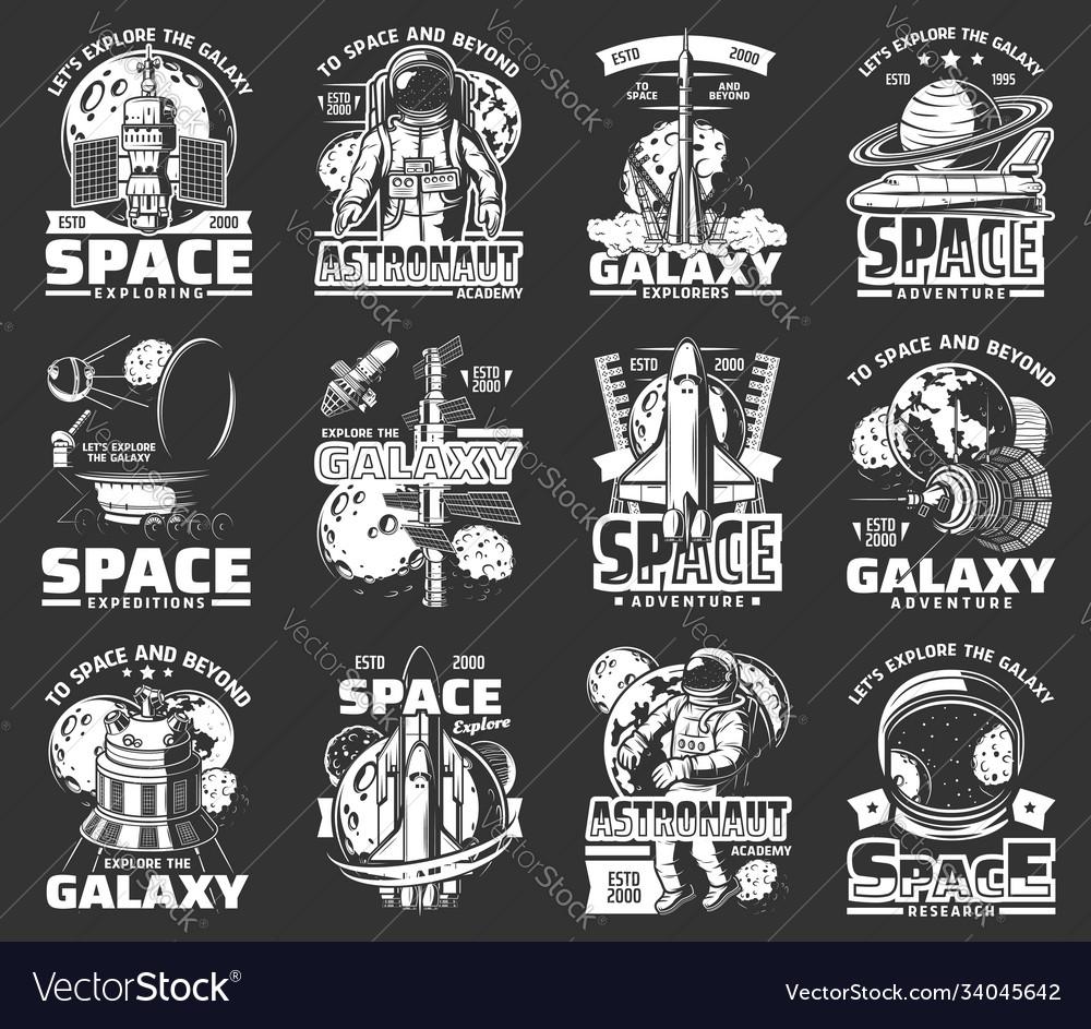 Outer space explore monochrome icons set