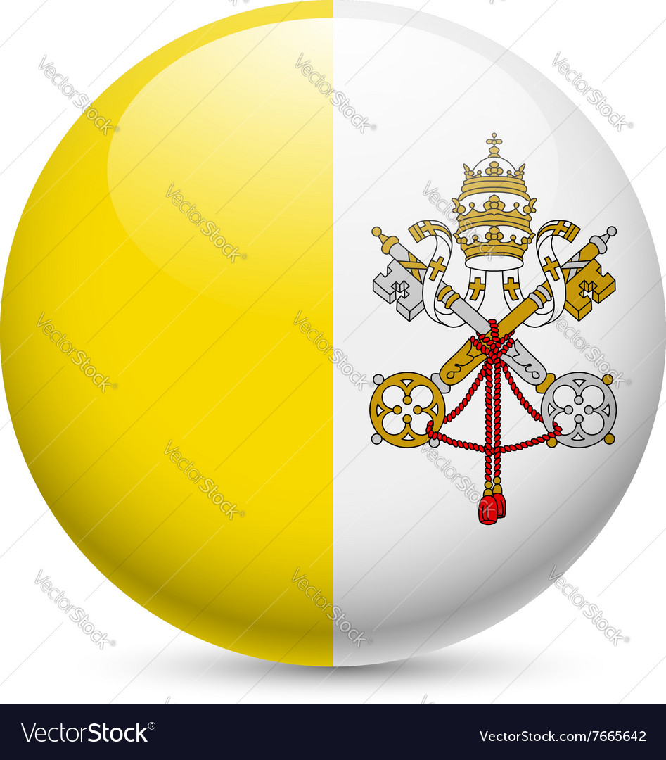 Round glossy icon of vatican city