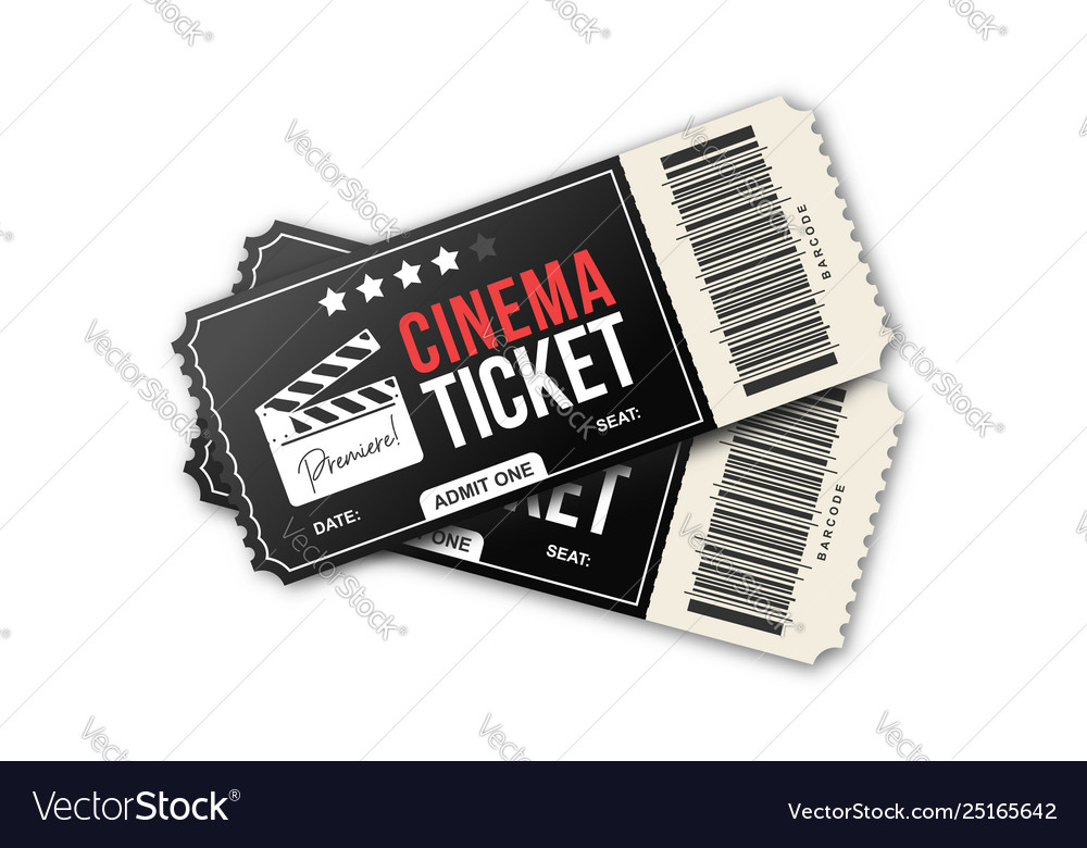 Two cinema tickets on white background movie