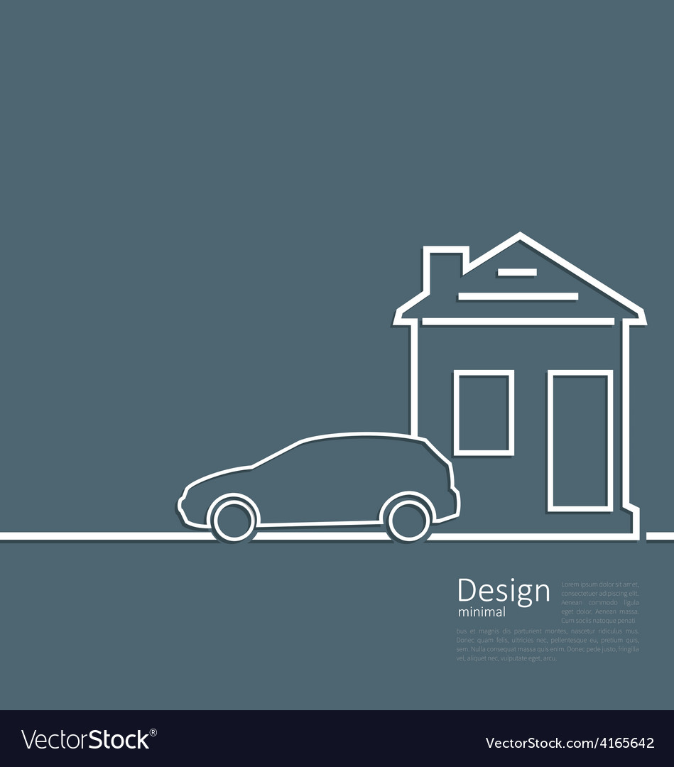 Web template house and parking car logo in minimal web template house and parking car logo in minimal vector image maxwellsz