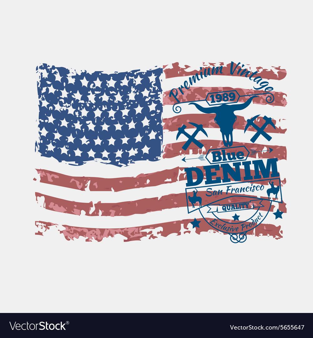America flag vintage denim typography