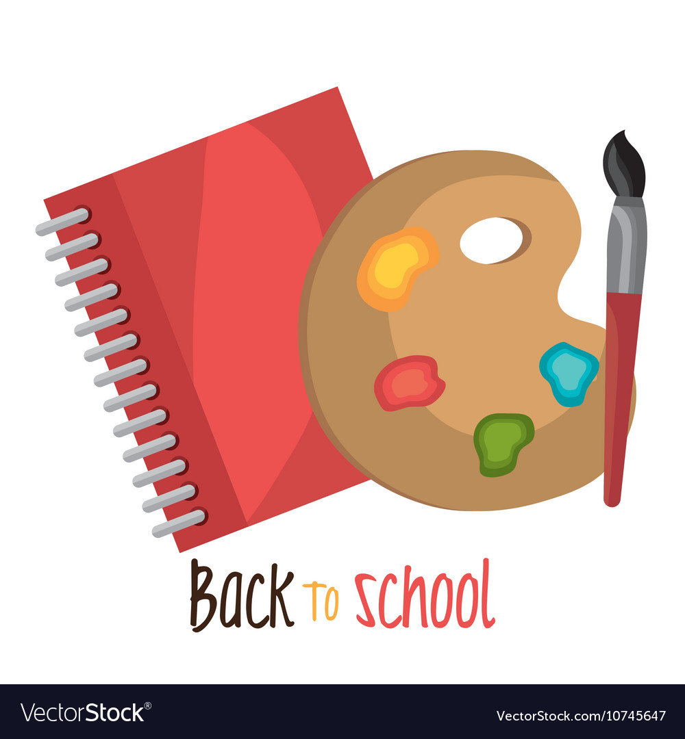 Back to school notebook and paint brusch design