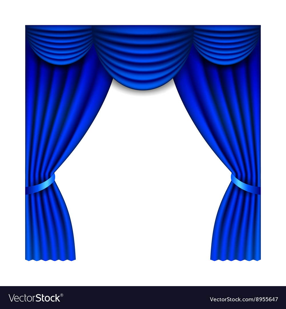 Blue window curtains isolated on white