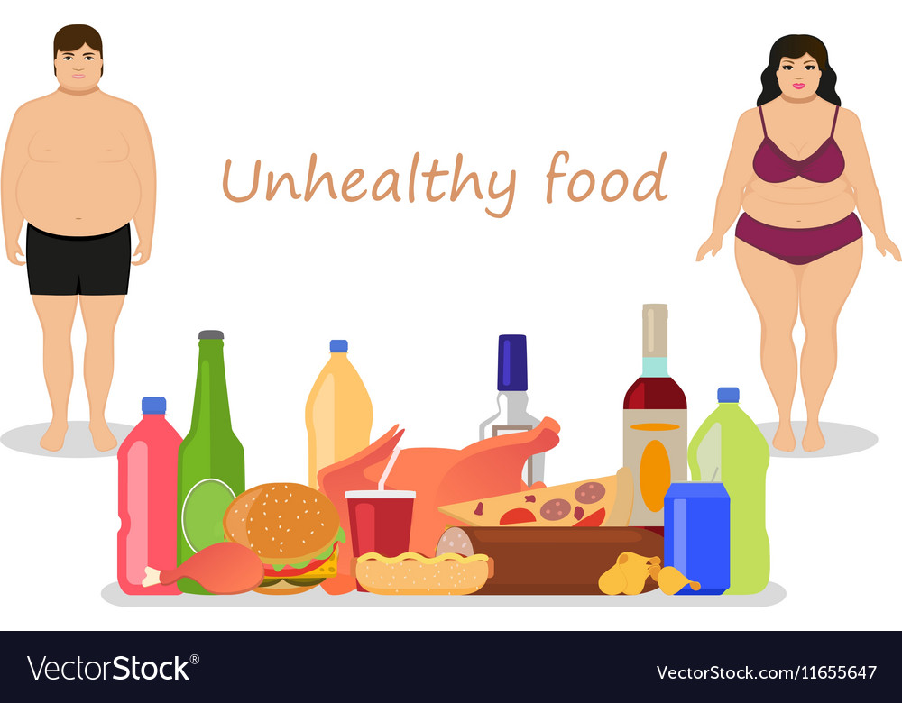Cartoon female male obesity Unhealthy food vector image