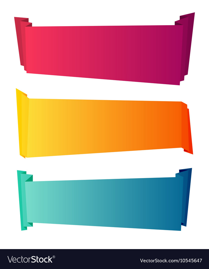 Curved color paper banners isolated on white