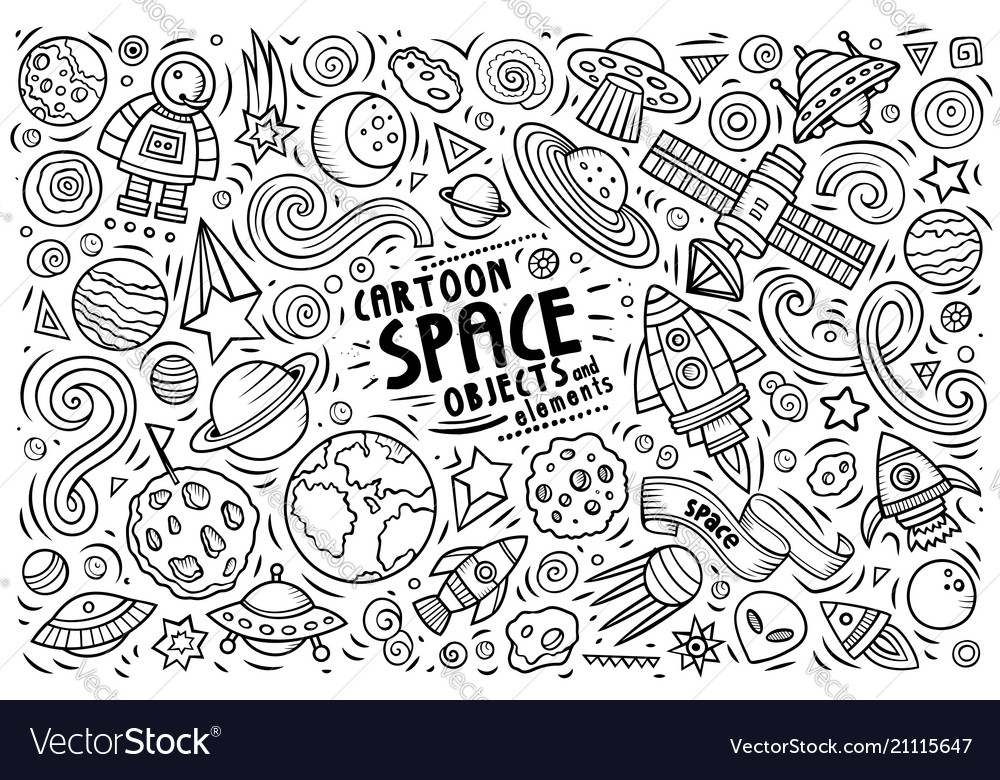 Doodle cartoon set of space theme objects and