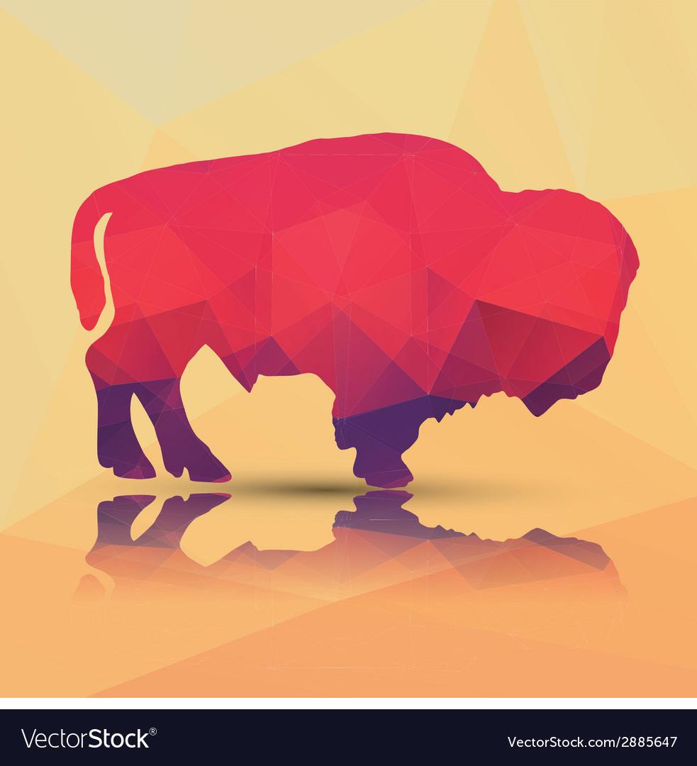 Geometric polygonal buffalo pattern design vector image