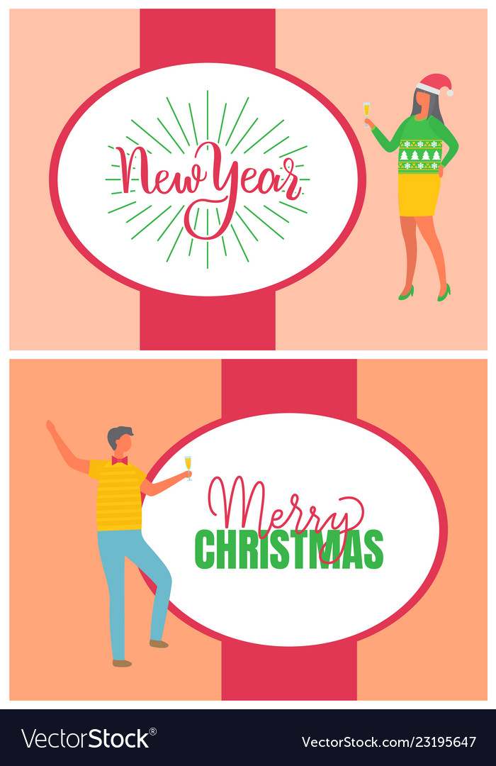 Christmas Carnival Poster.Merry Christmas Poster Man And Woman Carnival Hat