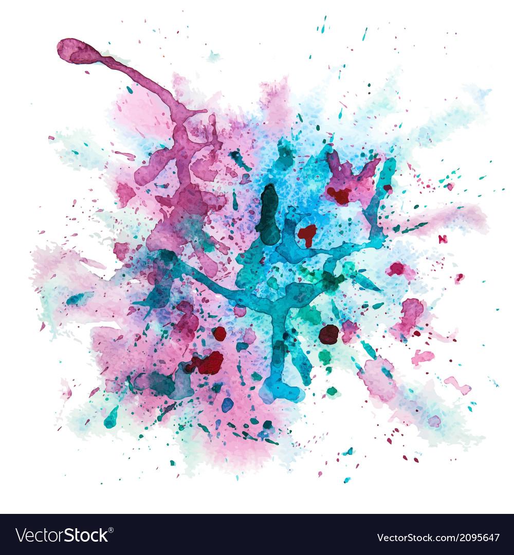 Multicolor watercolor splash vector image