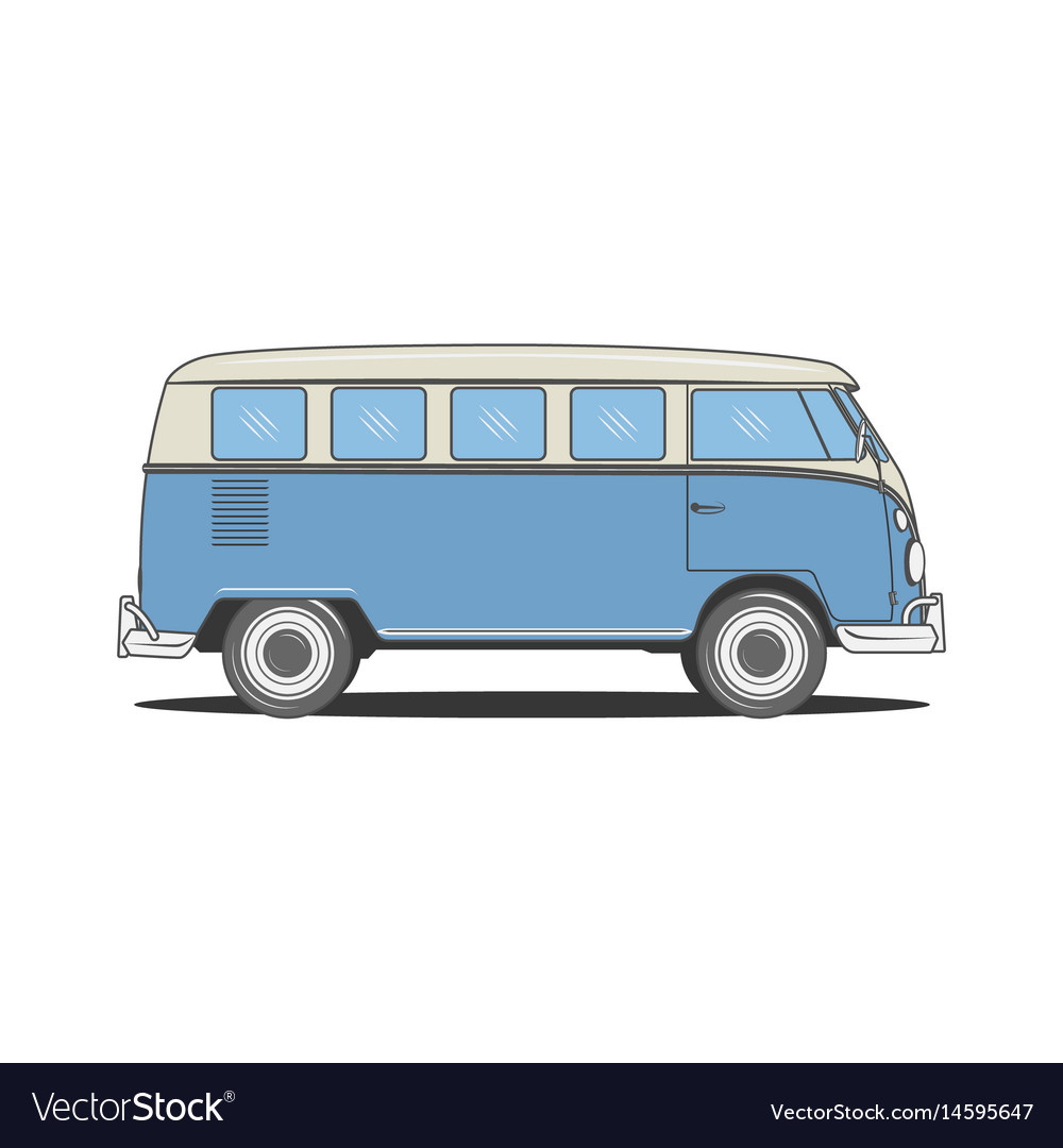 Retro camper blue bus for your design Royalty Free Vector