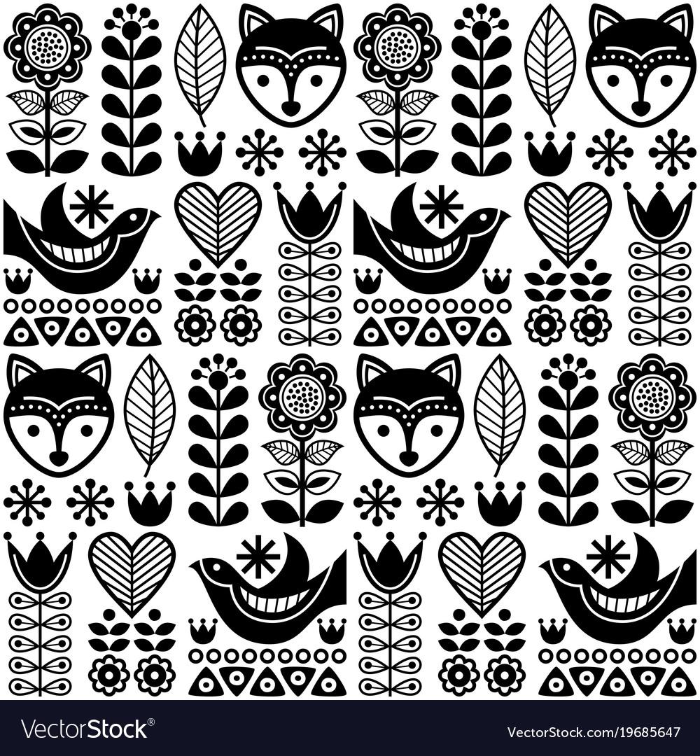 Scandinavian seamless folk pattern vector image
