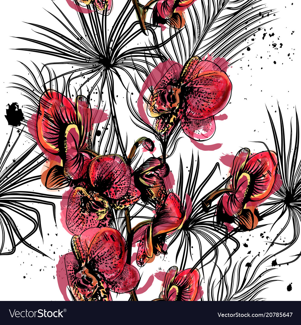 Seamless pattern on a tropical theme palm orchids