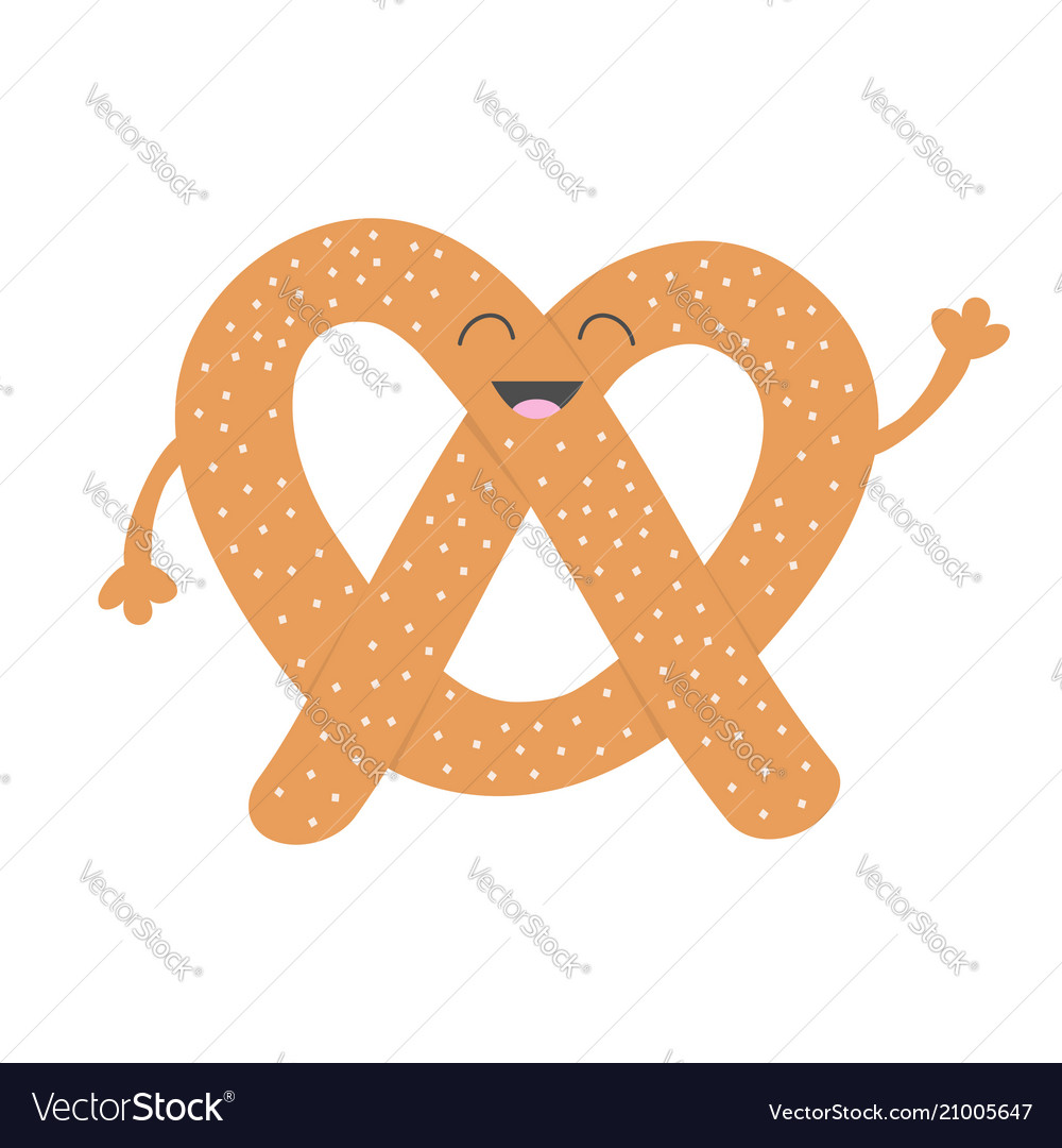 Soft pretzel icon sweet salted bakery pastry cute