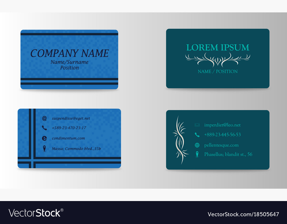 Variety of detailed horizontal business cards on Vector Image