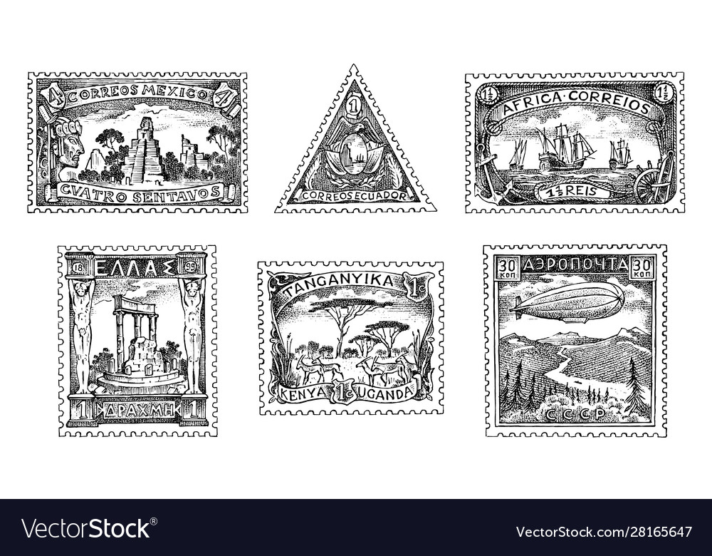 Vintage postage stamps set ancient landscapes