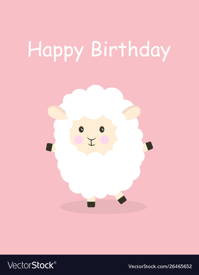 Cartoon sheep happy birthday