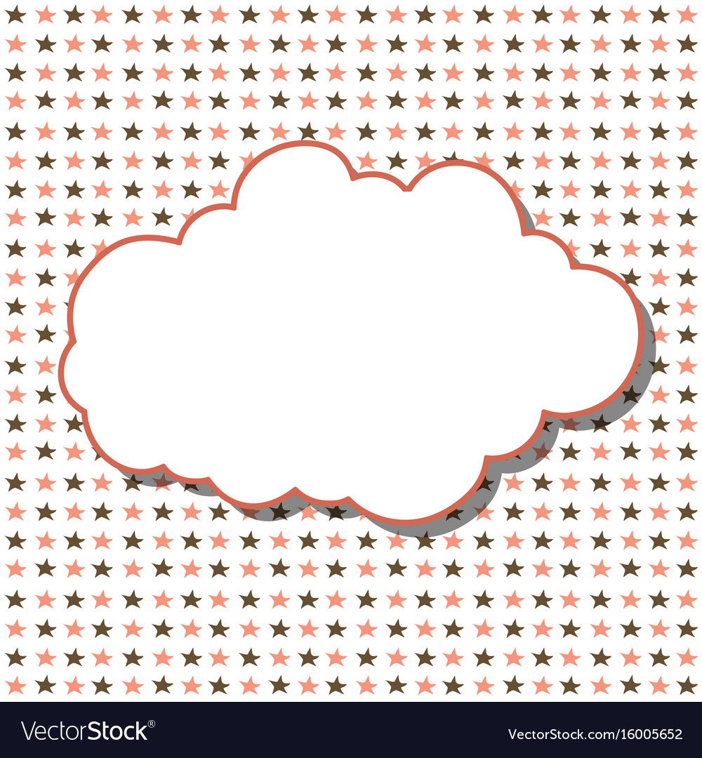 Cloud frame seamless pattern with stars on white Vector Image