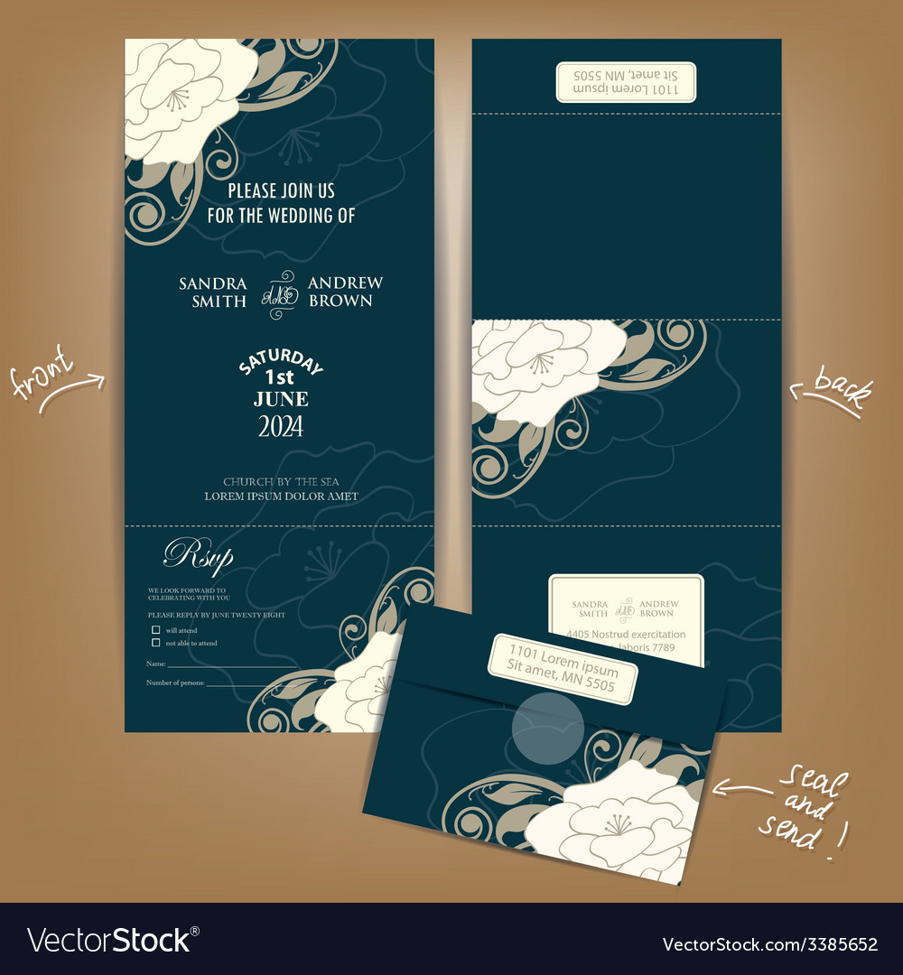 Seal And Send Wedding Invitations.Dark Seal And Send Wedding Invitation