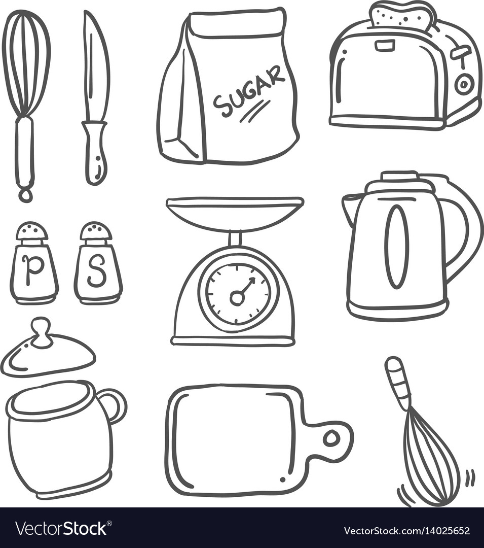 Hand Draw Kitchen Set Doodles Royalty Free Vector Image