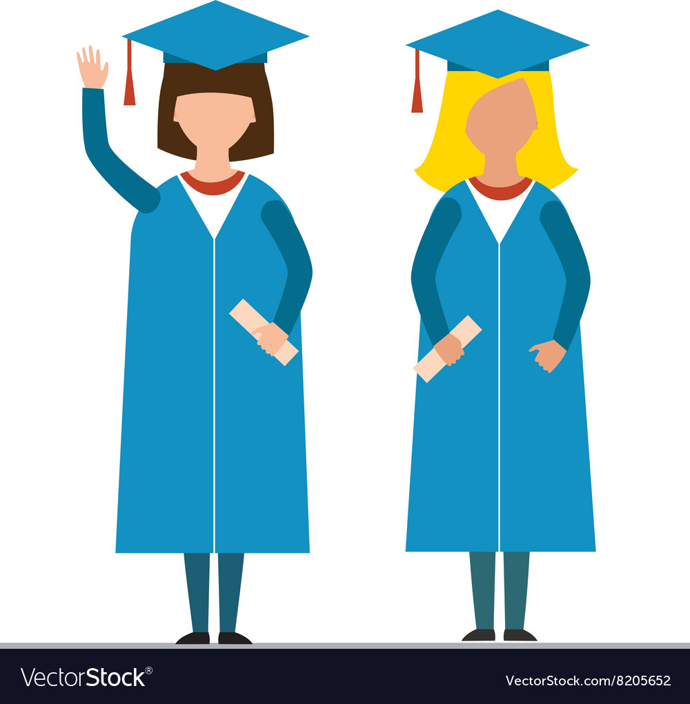 Happy graduation people uniform throwing caps