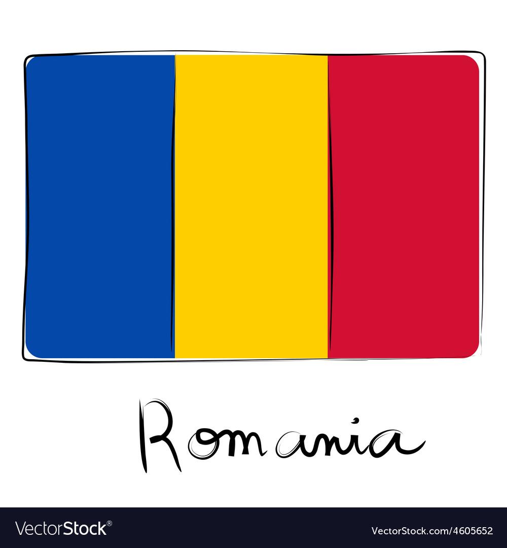Romania flag doodle vector image
