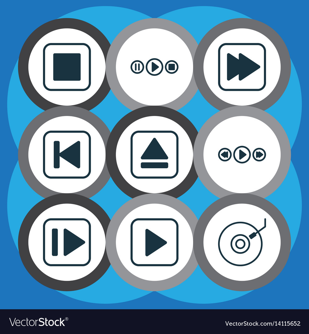 Set of 9 audio icons includes gramophone