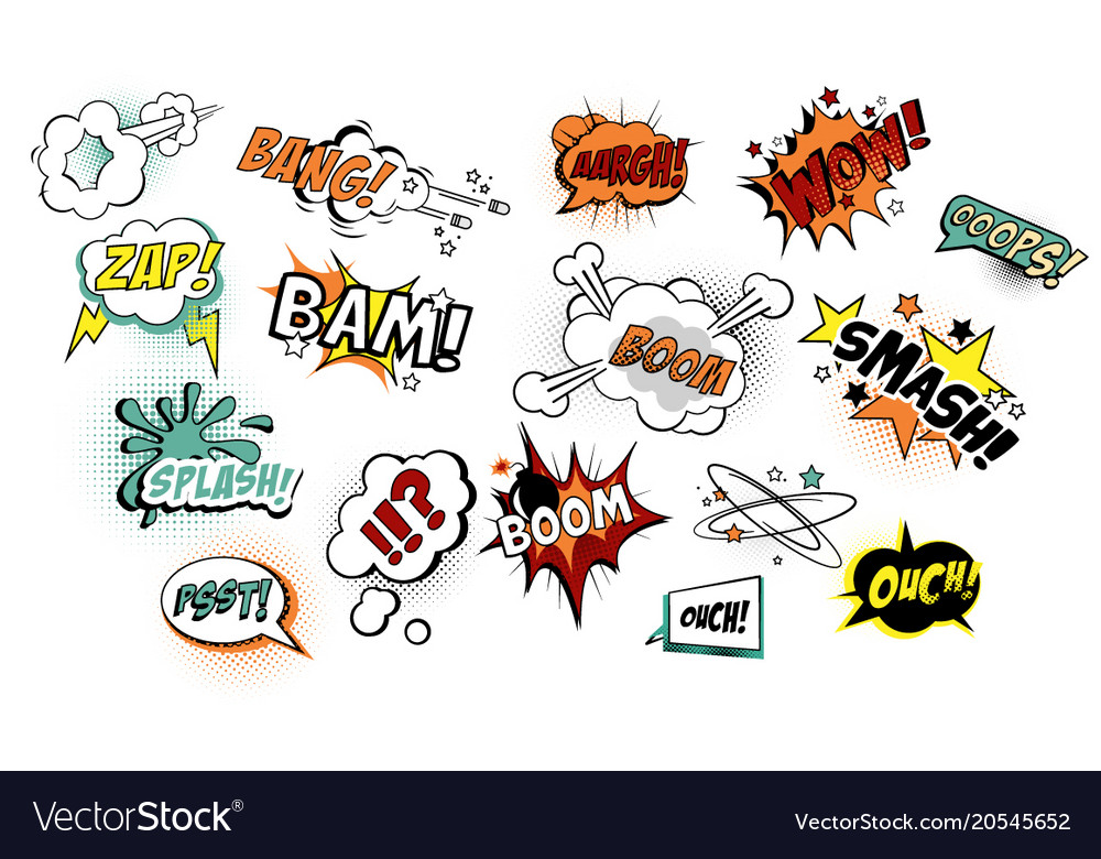 Set of speech bubbles in pop art style with