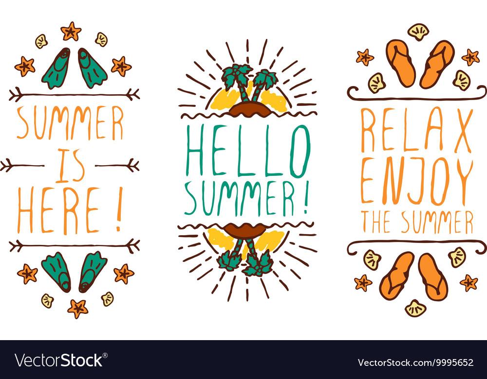 Set of summer hand-sketched elements vector image
