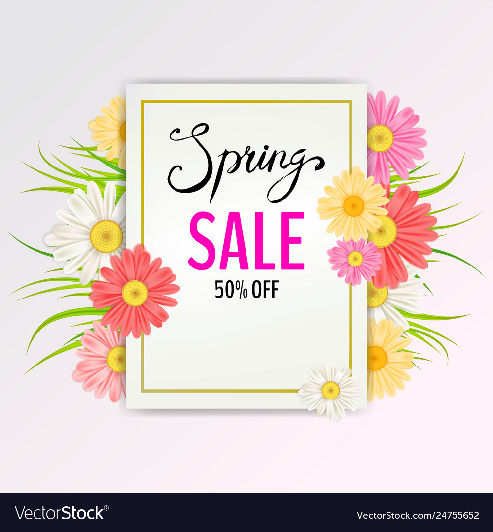 Spring sale banner hand drawn lettering