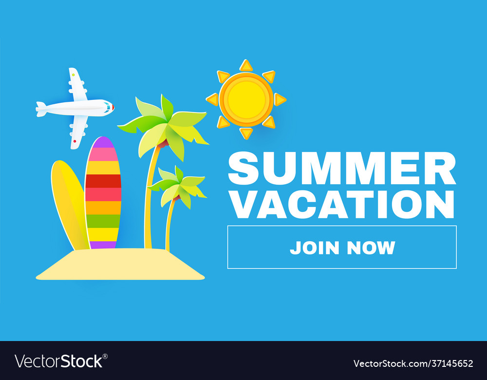Summer vacation time to travel tourism flyer