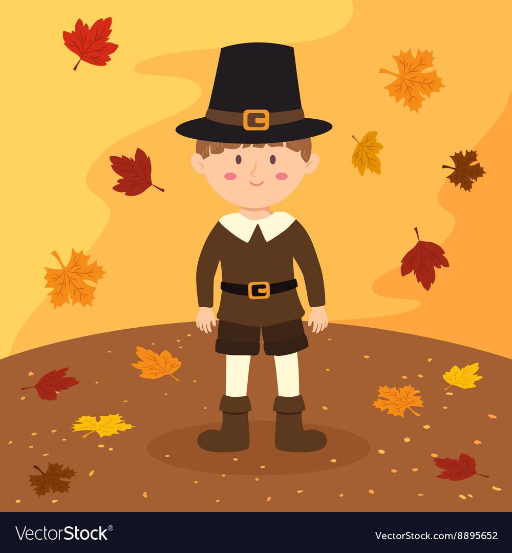 Thanksgiving Pilgrim Boy Cartoon