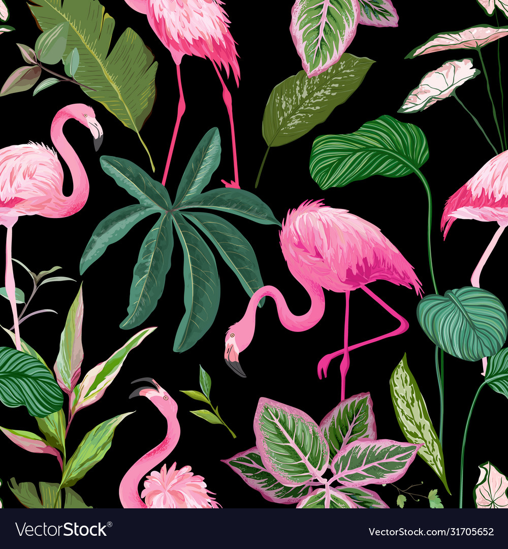 Tropical print with pink flamingo and palm leaves