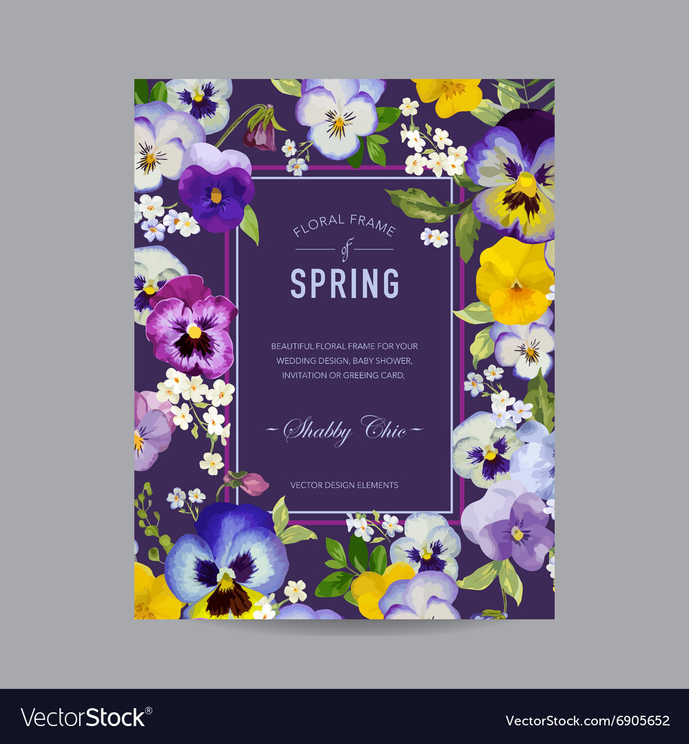 Vintage Floral Colorful Frame - for Invitation