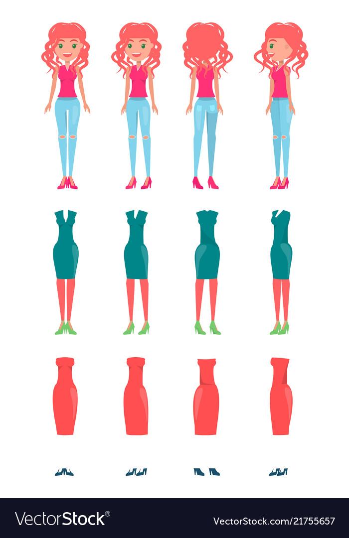 Animated cartoon character redhead girl set