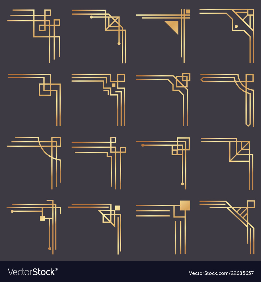 Art deco corner modern graphic corners for