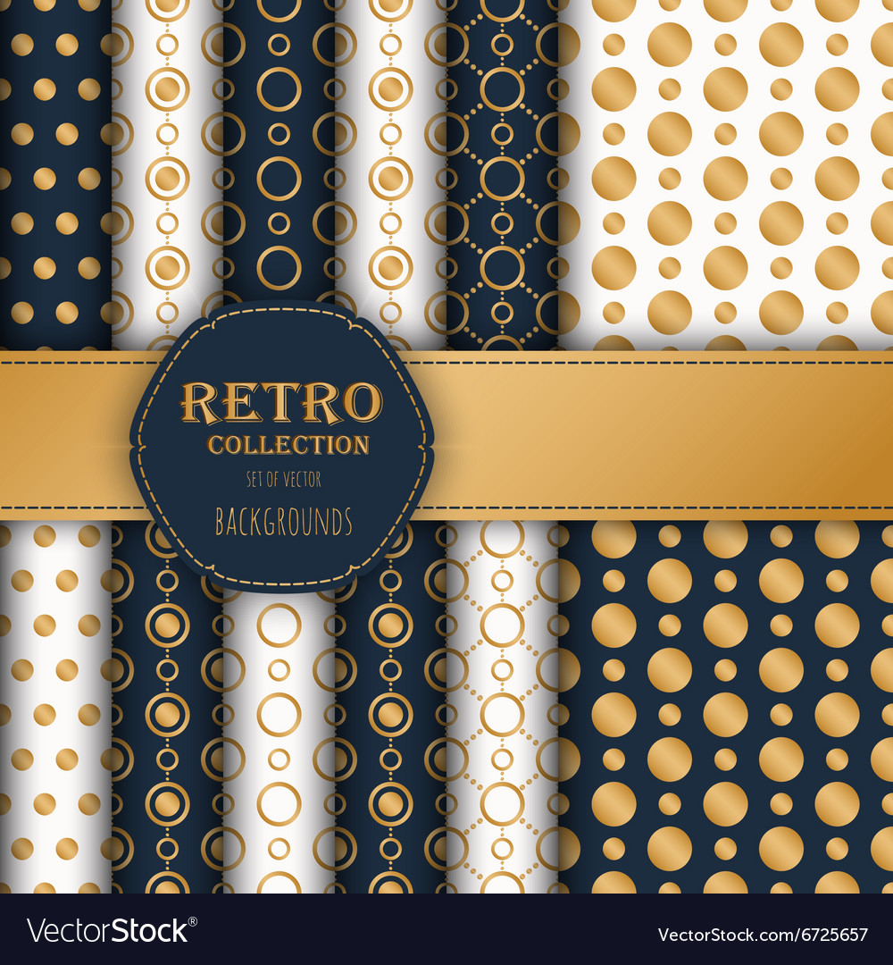 Collection gold polka dots seamless patterns vector image