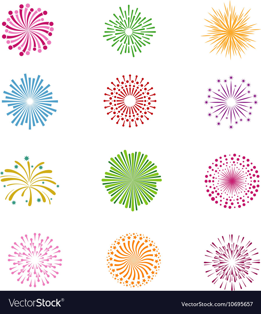 Color holiday party festival firework icons