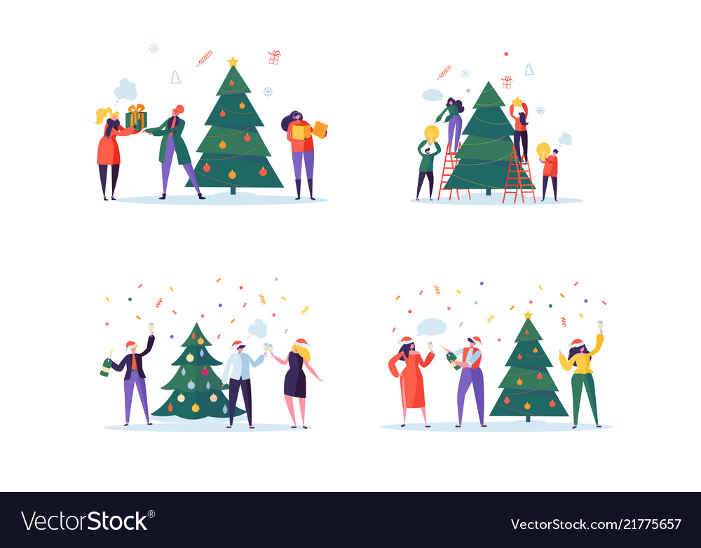 Flat happy people decorating christmas tree